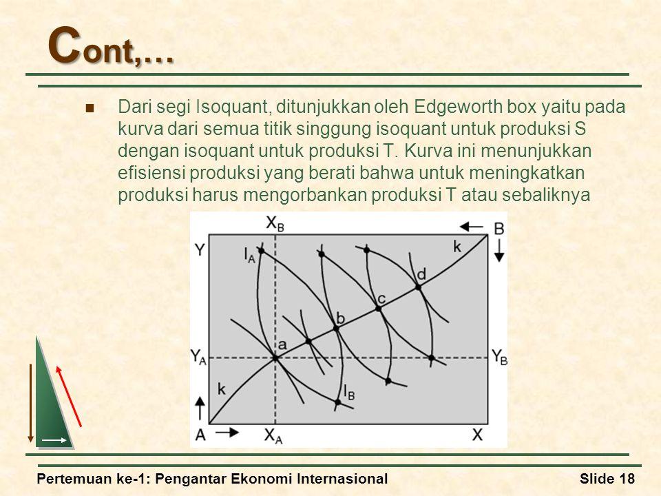 Pertemuan ke-1: Pengantar Ekonomi InternasionalSlide 18 C ont,… Dari segi Isoquant, ditunjukkan oleh Edgeworth box yaitu pada kurva dari semua titik singgung isoquant untuk produksi S dengan isoquant untuk produksi T.