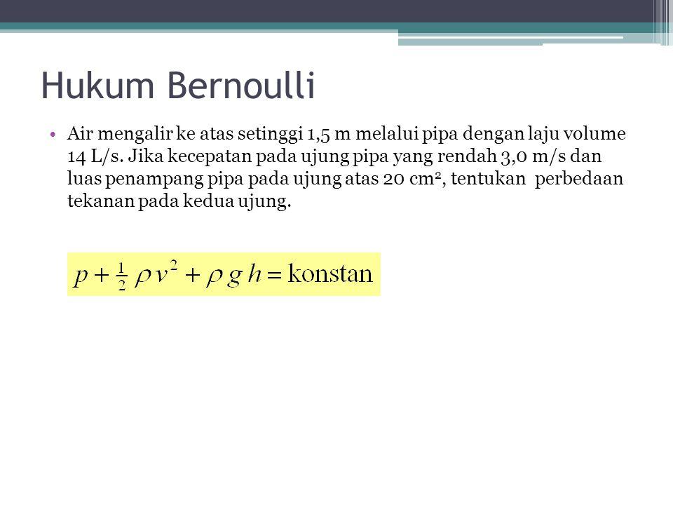 Hukum Bernoulli Air mengalir ke atas setinggi 1,5 m melalui pipa dengan laju volume 14 L/s. Jika kecepatan pada ujung pipa yang rendah 3,0 m/s dan lua