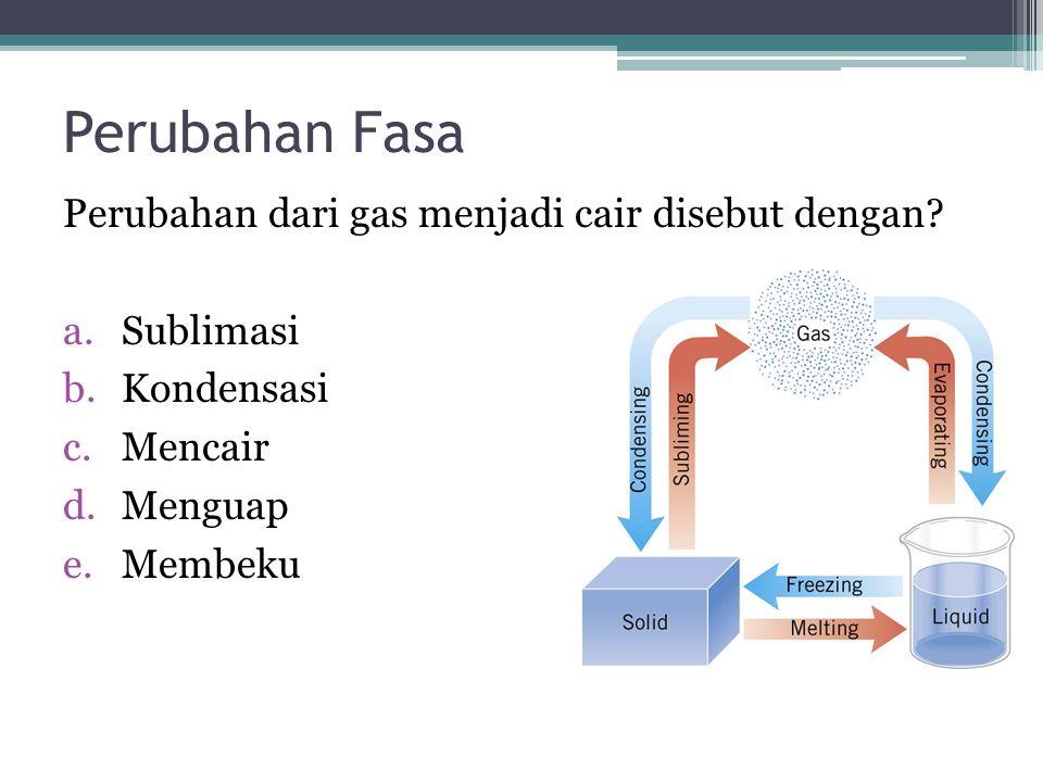 Perubahan Fasa Perubahan dari gas menjadi cair disebut dengan? a.Sublimasi b.Kondensasi c.Mencair d.Menguap e.Membeku