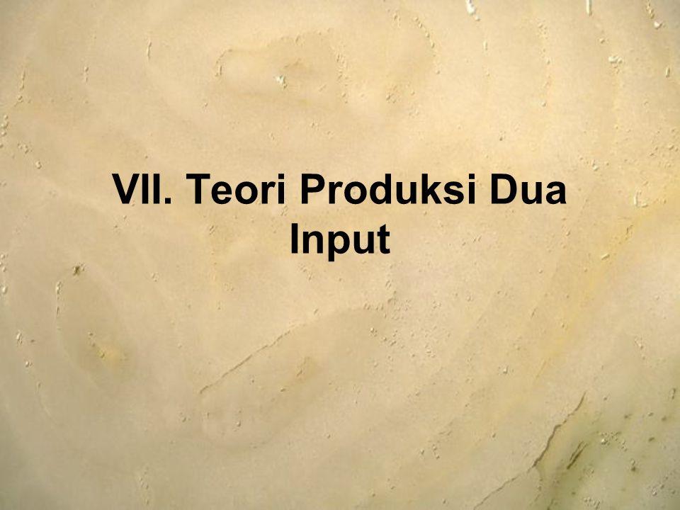 Apabila 2 input yang digunakan dalam proses produksi menjadi variabel semua, maka pendekatan yang digunakan: Isoquant Isocost Fungsi Produksi Dua Input