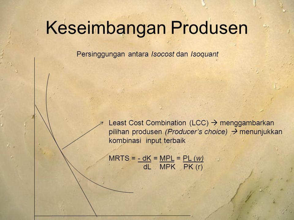Keseimbangan Produsen Least Cost Combination (LCC)  menggambarkan pilihan produsen (Producer's choice)  menunjukkan kombinasi input terbaik MRTS = -
