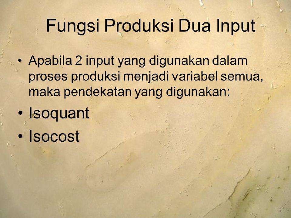 Apabila 2 input yang digunakan dalam proses produksi menjadi variabel semua, maka pendekatan yang digunakan: Isoquant Isocost Fungsi Produksi Dua Inpu