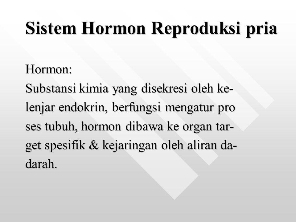 Sistem Hormon Reproduksi pria Hormon: Substansi kimia yang disekresi oleh ke- lenjar endokrin, berfungsi mengatur pro ses tubuh, hormon dibawa ke orga