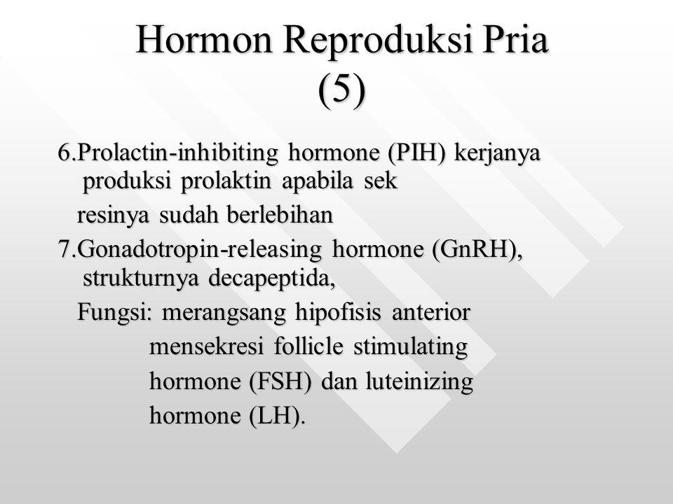 Hormon Reproduksi Pria (5) Hormon Reproduksi Pria (5) 6.Prolactin-inhibiting hormone (PIH) kerjanya produksi prolaktin apabila sek resinya sudah berle