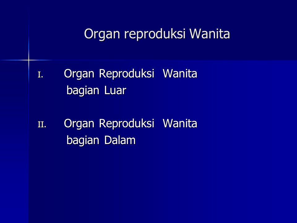 Organ reproduksi Wanita I. Organ Reproduksi Wanita bagian Luar bagian Luar II. Organ Reproduksi Wanita bagian Dalam bagian Dalam