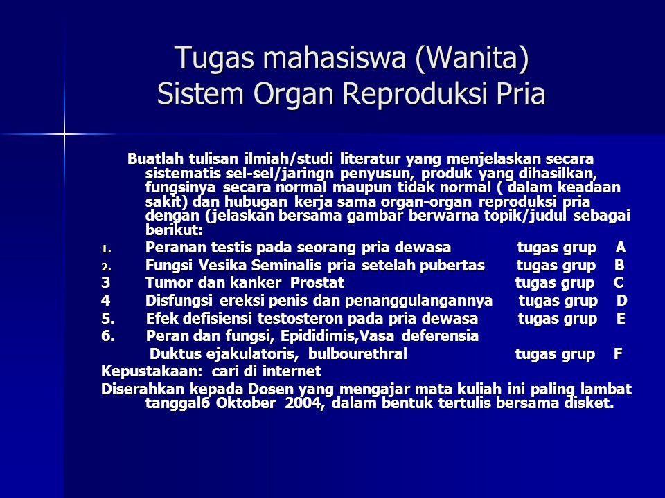 Tugas mahasiswa (Wanita) Sistem Organ Reproduksi Pria Buatlah tulisan ilmiah/studi literatur yang menjelaskan secara sistematis sel-sel/jaringn penyus