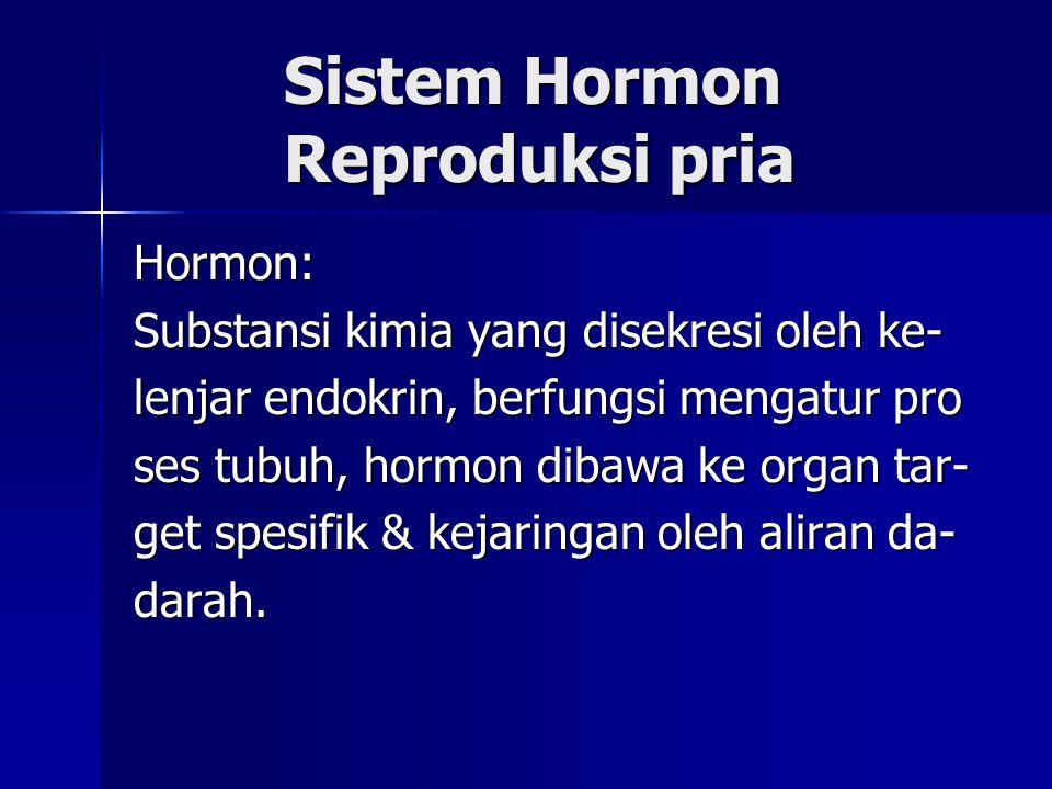 Sistem Hormon Reproduksi pria Sistem Hormon Reproduksi pria Hormon: Substansi kimia yang disekresi oleh ke- lenjar endokrin, berfungsi mengatur pro se