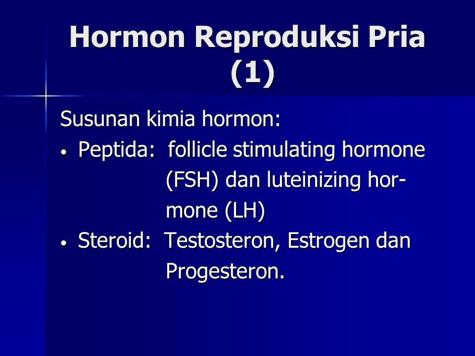 Hormon Reproduksi Pria (1) Hormon Reproduksi Pria (1) Susunan kimia hormon: Peptida: follicle stimulating hormone Peptida: follicle stimulating hormon
