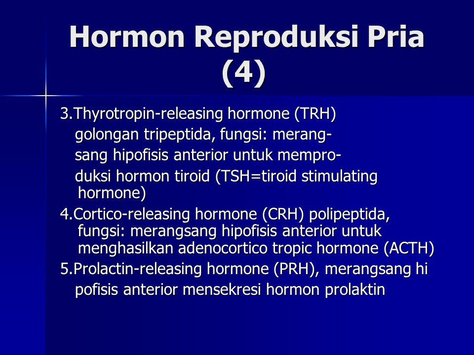 Hormon Reproduksi Pria (4) Hormon Reproduksi Pria (4) 3.Thyrotropin-releasing hormone (TRH) golongan tripeptida, fungsi: merang- golongan tripeptida,