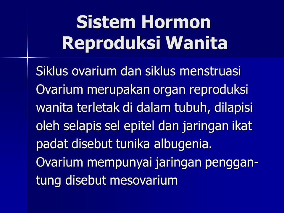 Sistem Hormon Reproduksi Wanita Sistem Hormon Reproduksi Wanita Siklus ovarium dan siklus menstruasi Ovarium merupakan organ reproduksi wanita terleta