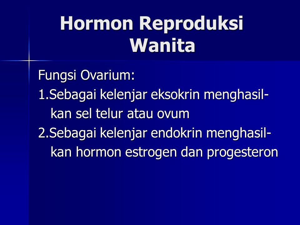 Hormon Reproduksi Wanita Hormon Reproduksi Wanita Fungsi Ovarium: 1.Sebagai kelenjar eksokrin menghasil- kan sel telur atau ovum kan sel telur atau ov