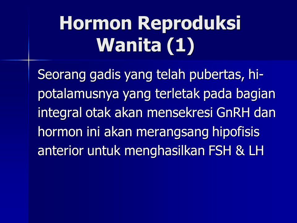 Hormon Reproduksi Wanita (1) Hormon Reproduksi Wanita (1) Seorang gadis yang telah pubertas, hi- potalamusnya yang terletak pada bagian integral otak