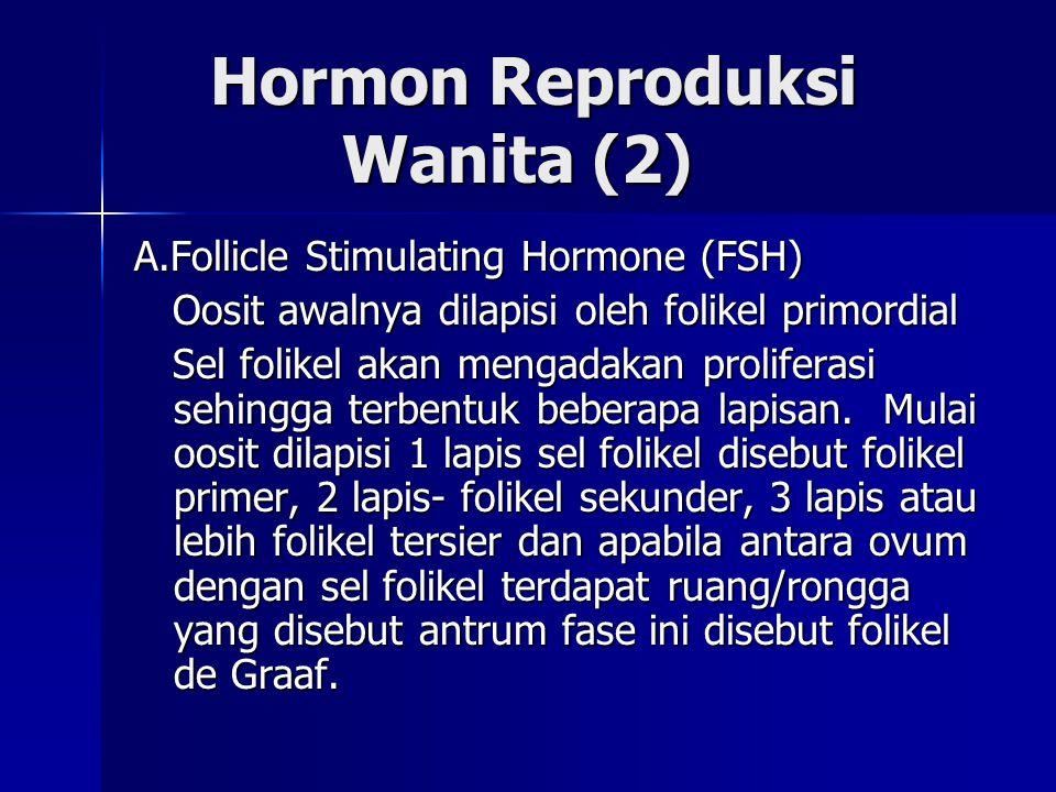 Hormon Reproduksi Wanita (2) Hormon Reproduksi Wanita (2) A.Follicle Stimulating Hormone (FSH) Oosit awalnya dilapisi oleh folikel primordial Oosit aw