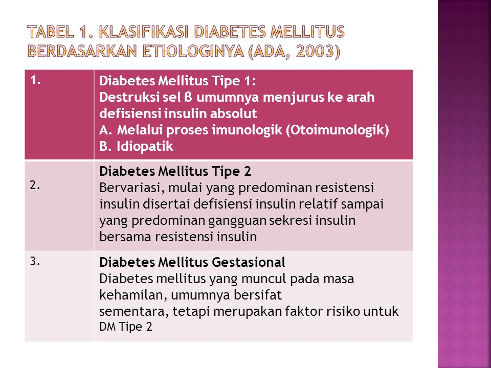 1. Diabetes Mellitus Tipe 1: Destruksi sel β umumnya menjurus ke arah defisiensi insulin absolut A. Melalui proses imunologik (Otoimunologik) B. Idiop