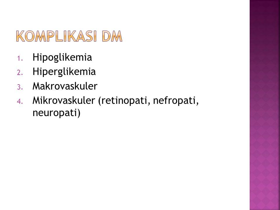 1. Hipoglikemia 2. Hiperglikemia 3. Makrovaskuler 4. Mikrovaskuler (retinopati, nefropati, neuropati)