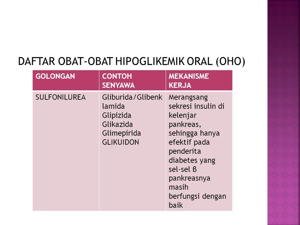 DAFTAR OBAT-OBAT HIPOGLIKEMIK ORAL (OHO) GOLONGANCONTOH SENYAWA MEKANISME KERJA SULFONILUREAGliburida/Glibenk lamida Glipizida Glikazida Glimepirida G