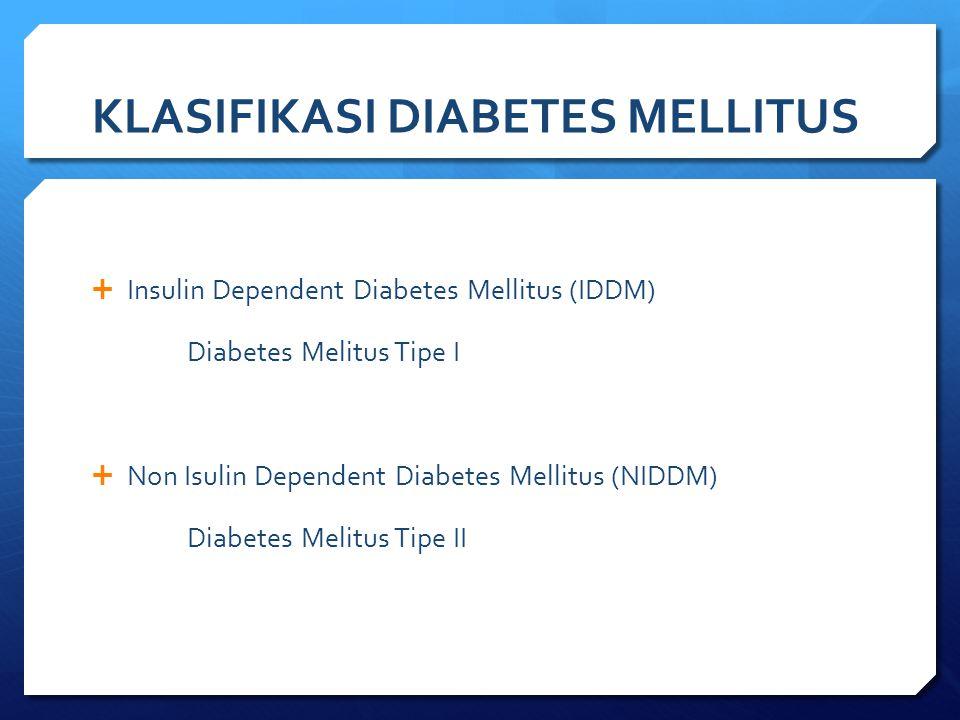 KLASIFIKASI DIABETES MELLITUS  Insulin Dependent Diabetes Mellitus (IDDM) Diabetes Melitus Tipe I  Non Isulin Dependent Diabetes Mellitus (NIDDM) Di