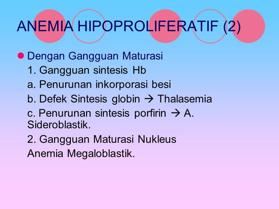 ANEMIA HIPOPROLIFERATIF (2) Dengan Gangguan Maturasi 1. Gangguan sintesis Hb a. Penurunan inkorporasi besi b. Defek Sintesis globin  Thalasemia c. Pe
