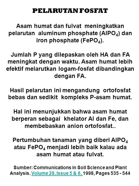 PELARUTAN FOSFAT Asam humat dan fulvat meningkatkan pelarutan aluminum phosphate (AlPO 4 ) dan iron phosphate (FePO 4 ). Jumlah P yang dilepaskan oleh