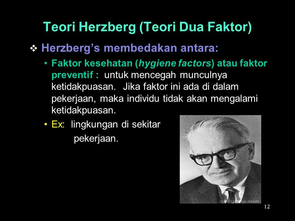  Herzberg's membedakan antara: Faktor kesehatan (hygiene factors) atau faktor preventif : untuk mencegah munculnya ketidakpuasan. Jika faktor ini ada