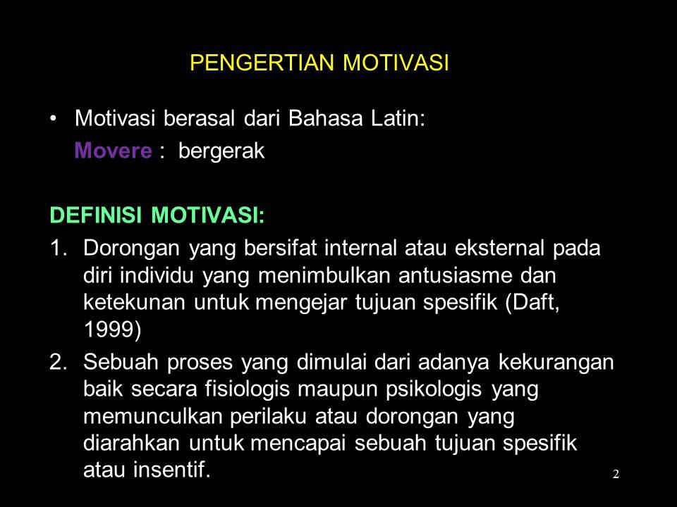 * Faktor motivator (motivator factor): kondisi kerja yang terutama berfungsi untuk menimbulkan motivasi.