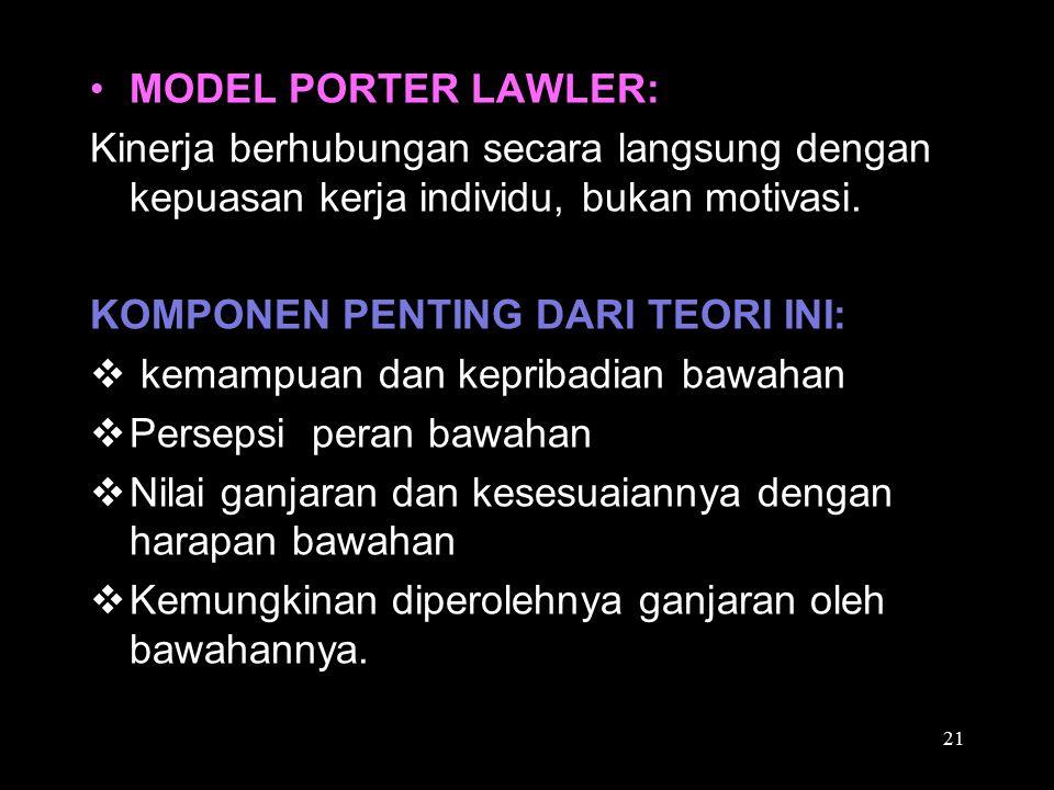 MODEL PORTER LAWLER: Kinerja berhubungan secara langsung dengan kepuasan kerja individu, bukan motivasi. KOMPONEN PENTING DARI TEORI INI:  kemampuan