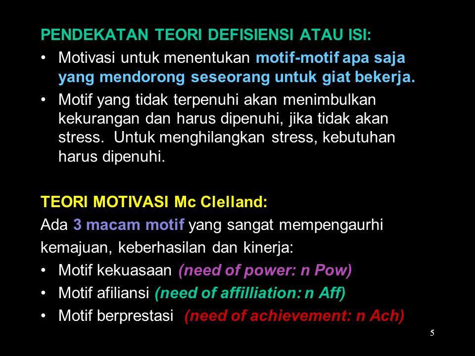  Motif kekuasaan (need of power: n Pow): Ditandai dengan keinginan individu untuk memegang kendali atas orang lain, mempengaruhi sekaligus menguasai kehidupan orang lain.