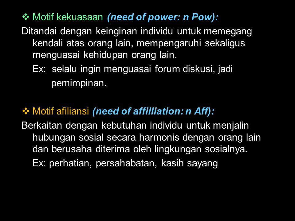  Motif kekuasaan (need of power: n Pow): Ditandai dengan keinginan individu untuk memegang kendali atas orang lain, mempengaruhi sekaligus menguasai
