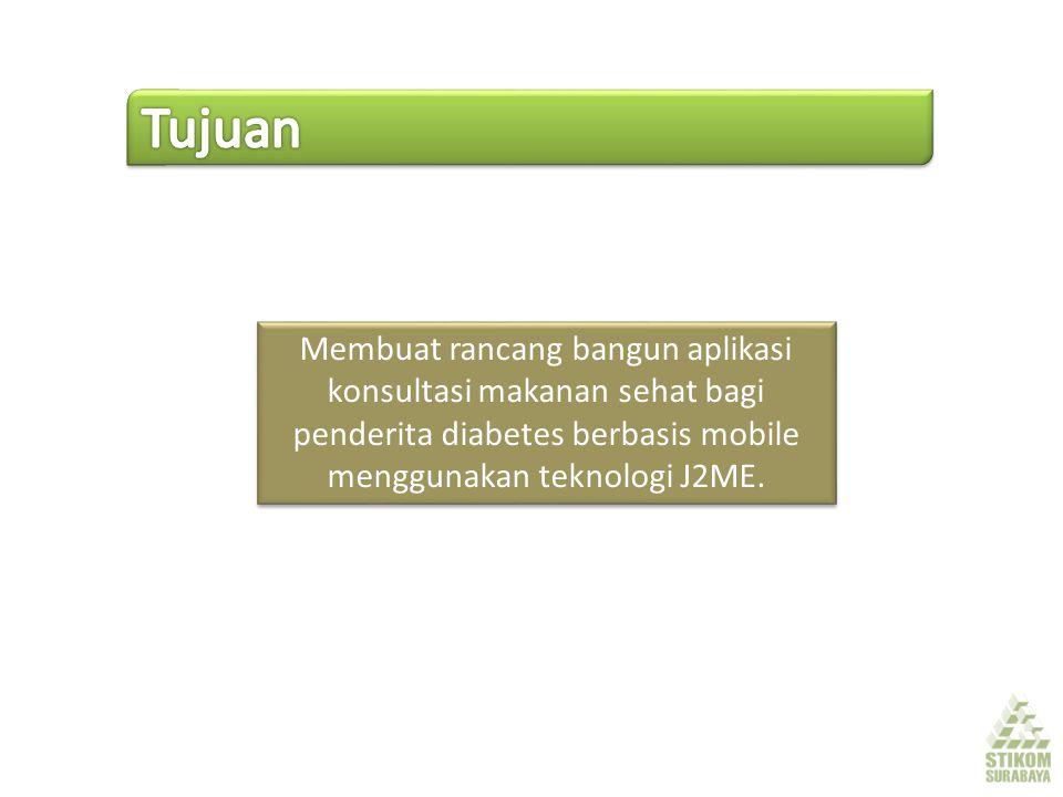 Membuat rancang bangun aplikasi konsultasi makanan sehat bagi penderita diabetes berbasis mobile menggunakan teknologi J2ME.