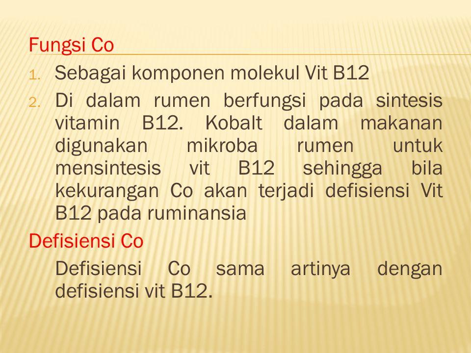 Fungsi Co 1. Sebagai komponen molekul Vit B12 2. Di dalam rumen berfungsi pada sintesis vitamin B12. Kobalt dalam makanan digunakan mikroba rumen untu