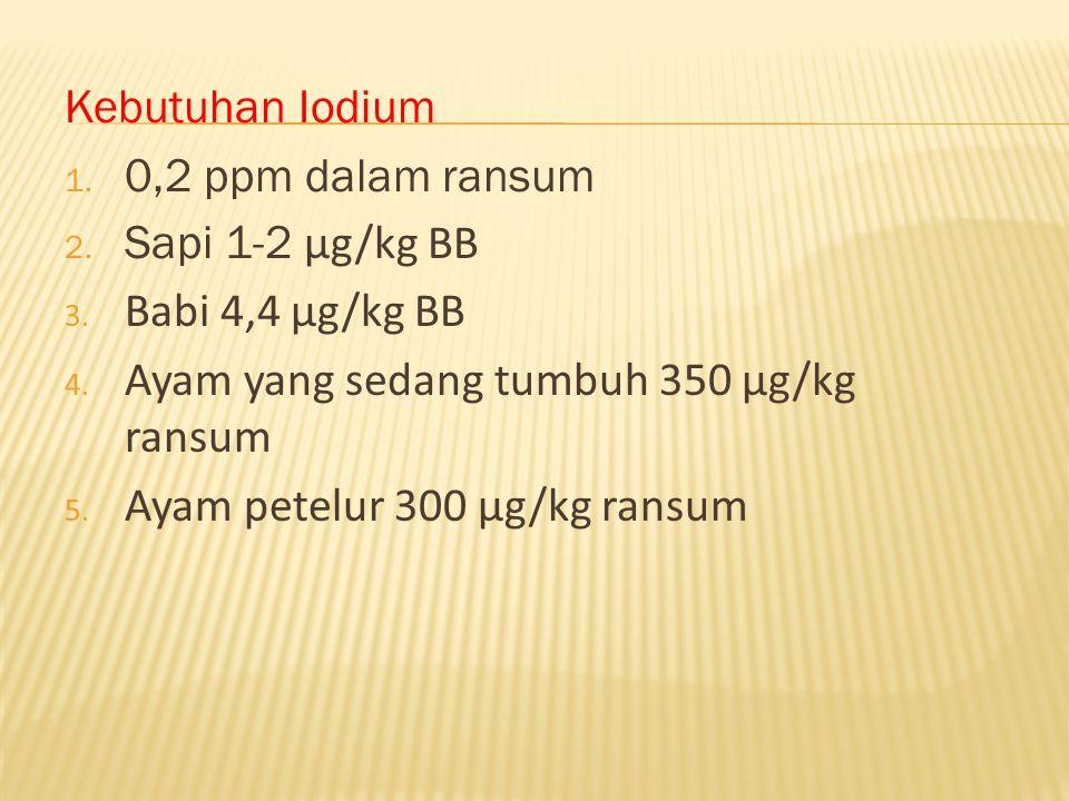 Kebutuhan Iodium 1. 0,2 ppm dalam ransum 2. Sapi 1-2 μg/kg BB 3. Babi 4,4 μg/kg BB 4. Ayam yang sedang tumbuh 350 μg/kg ransum 5. Ayam petelur 300 μg/