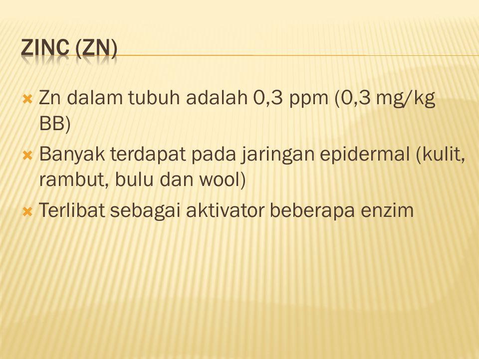  Zn dalam tubuh adalah 0,3 ppm (0,3 mg/kg BB)  Banyak terdapat pada jaringan epidermal (kulit, rambut, bulu dan wool)  Terlibat sebagai aktivator beberapa enzim