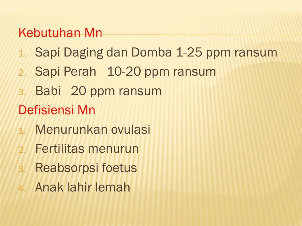 Kebutuhan Mn 1. Sapi Daging dan Domba 1-25 ppm ransum 2. Sapi Perah 10-20 ppm ransum 3. Babi 20 ppm ransum Defisiensi Mn 1. Menurunkan ovulasi 2. Fert