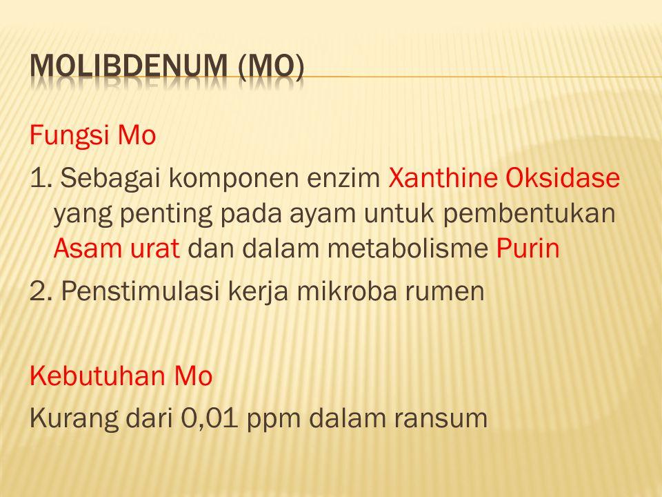 Fungsi Mo 1. Sebagai komponen enzim Xanthine Oksidase yang penting pada ayam untuk pembentukan Asam urat dan dalam metabolisme Purin 2. Penstimulasi k