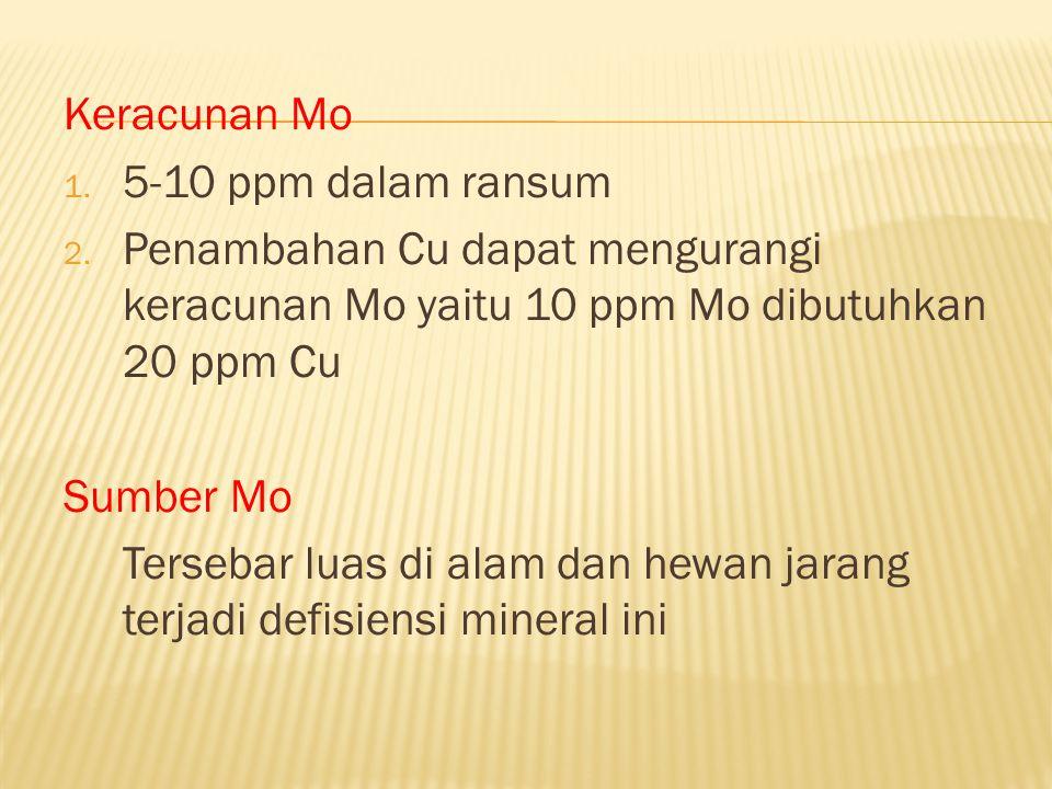 Keracunan Mo 1. 5-10 ppm dalam ransum 2. Penambahan Cu dapat mengurangi keracunan Mo yaitu 10 ppm Mo dibutuhkan 20 ppm Cu Sumber Mo Tersebar luas di a
