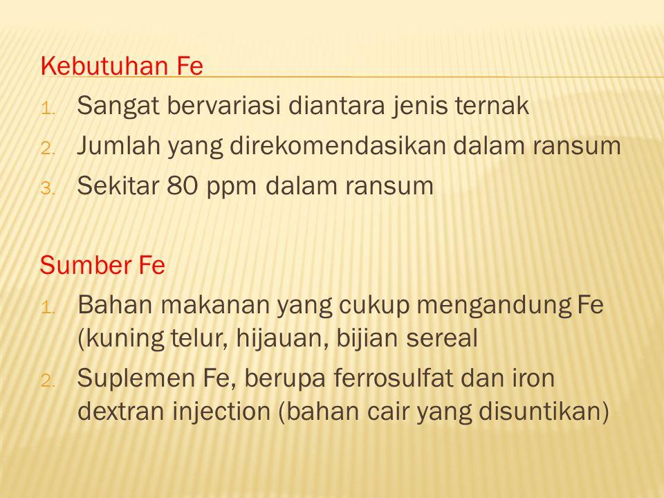 Kebutuhan Fe 1. Sangat bervariasi diantara jenis ternak 2. Jumlah yang direkomendasikan dalam ransum 3. Sekitar 80 ppm dalam ransum Sumber Fe 1. Bahan