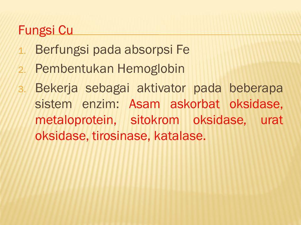 Fungsi Cu 1. Berfungsi pada absorpsi Fe 2. Pembentukan Hemoglobin 3. Bekerja sebagai aktivator pada beberapa sistem enzim: Asam askorbat oksidase, met