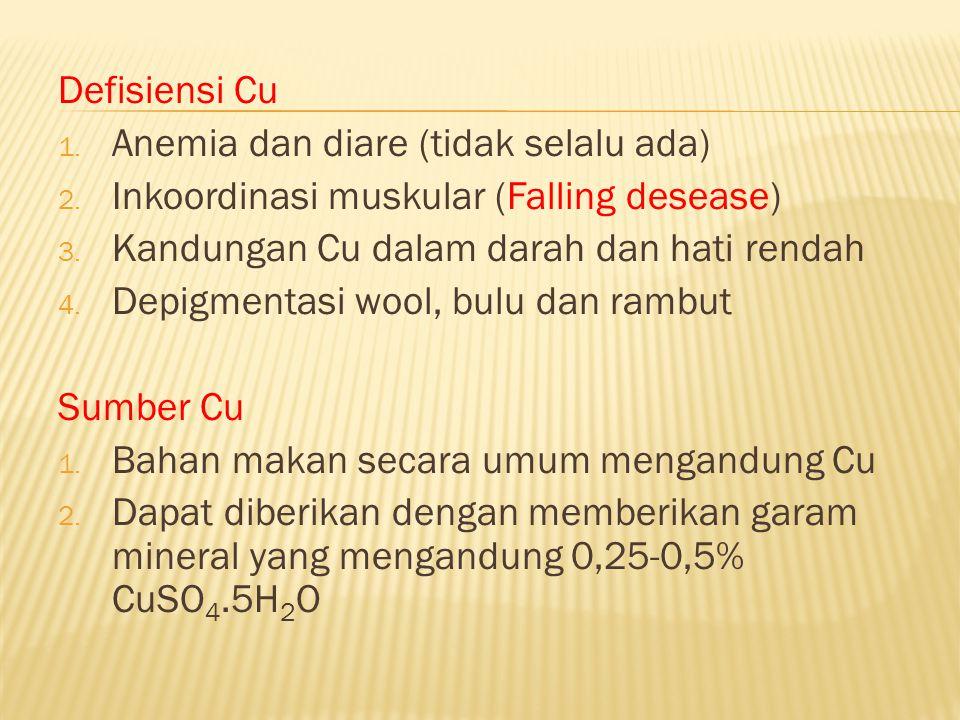 Defisiensi Cu 1. Anemia dan diare (tidak selalu ada) 2. Inkoordinasi muskular (Falling desease) 3. Kandungan Cu dalam darah dan hati rendah 4. Depigme