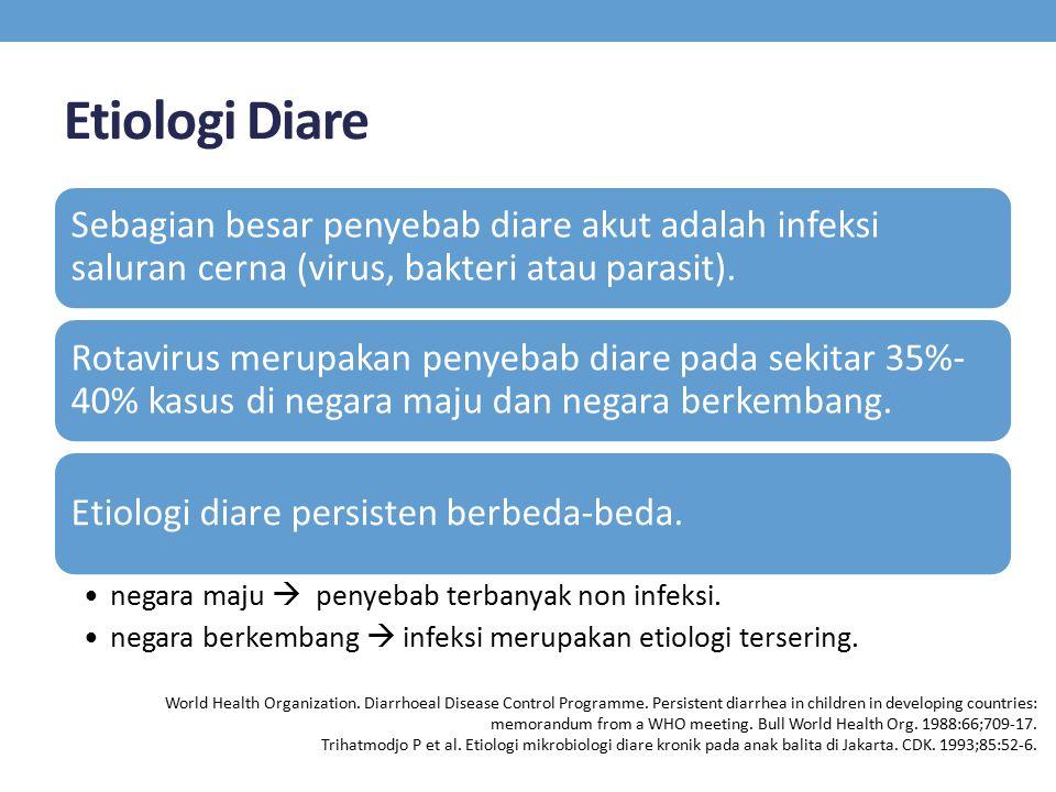 Etiologi Diare Sebagian besar penyebab diare akut adalah infeksi saluran cerna (virus, bakteri atau parasit). Rotavirus merupakan penyebab diare pada