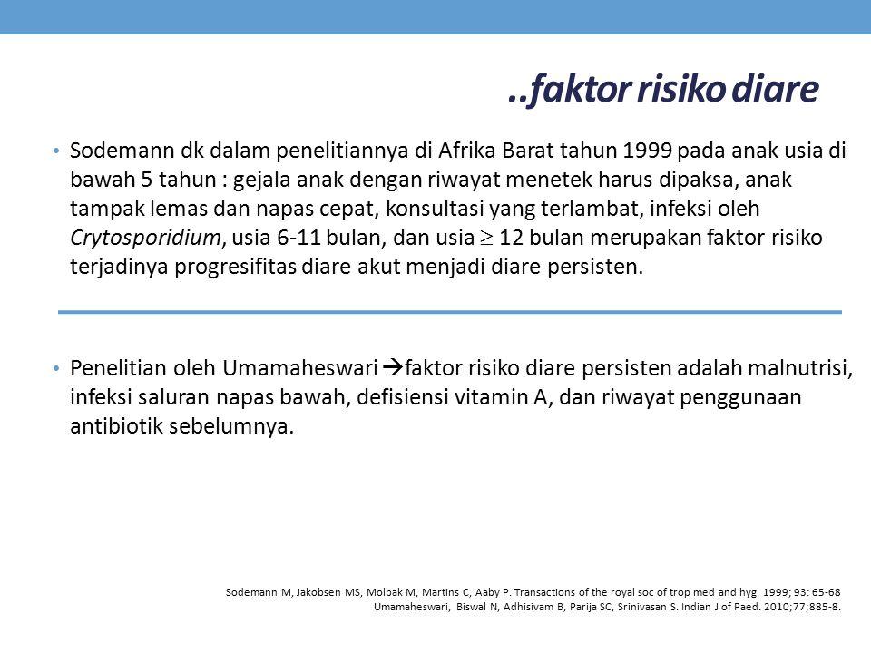 ..faktor risiko diare Sodemann dk dalam penelitiannya di Afrika Barat tahun 1999 pada anak usia di bawah 5 tahun : gejala anak dengan riwayat menetek