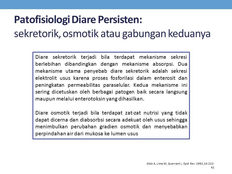 Patofisiologi Diare Persisten: sekretorik, osmotik atau gabungan keduanya Aldo A, Lima M, Guerrant L. Epid Rev. 1992;14:222- 42 Diare sekretorik terja
