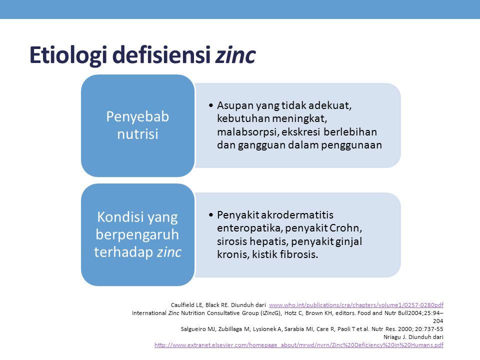 Etiologi defisiensi zinc Asupan yang tidak adekuat, kebutuhan meningkat, malabsorpsi, ekskresi berlebihan dan gangguan dalam penggunaan Penyebab nutrisi Penyakit akrodermatitis enteropatika, penyakit Crohn, sirosis hepatis, penyakit ginjal kronis, kistik fibrosis.