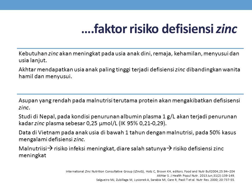 ….faktor risiko defisiensi zinc Kebutuhan zinc akan meningkat pada usia anak dini, remaja, kehamilan, menyusui dan usia lanjut. Akhtar mendapatkan usi
