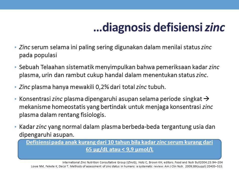…diagnosis defisiensi zinc Zinc serum selama ini paling sering digunakan dalam menilai status zinc pada populasi Sebuah Telaahan sistematik menyimpulkan bahwa pemeriksaan kadar zinc plasma, urin dan rambut cukup handal dalam menentukan status zinc.
