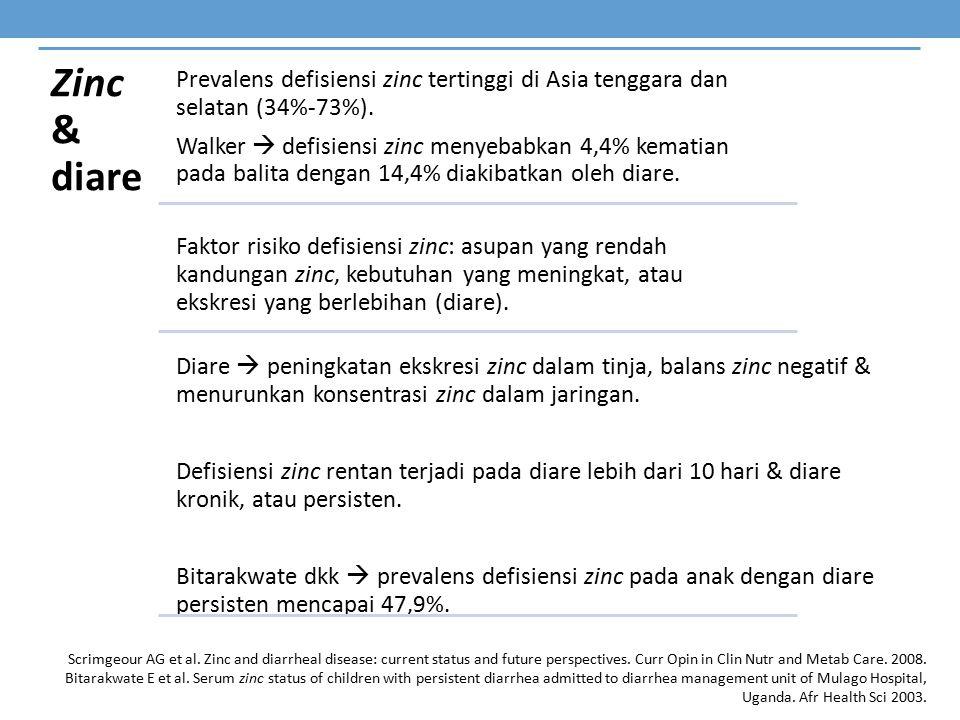 Zinc & diare Prevalens defisiensi zinc tertinggi di Asia tenggara dan selatan (34%-73%). Walker  defisiensi zinc menyebabkan 4,4% kematian pada balit