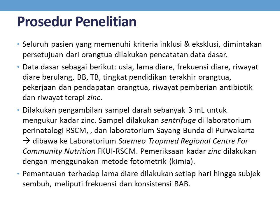 Prosedur Penelitian Seluruh pasien yang memenuhi kriteria inklusi & eksklusi, dimintakan persetujuan dari orangtua dilakukan pencatatan data dasar. Da