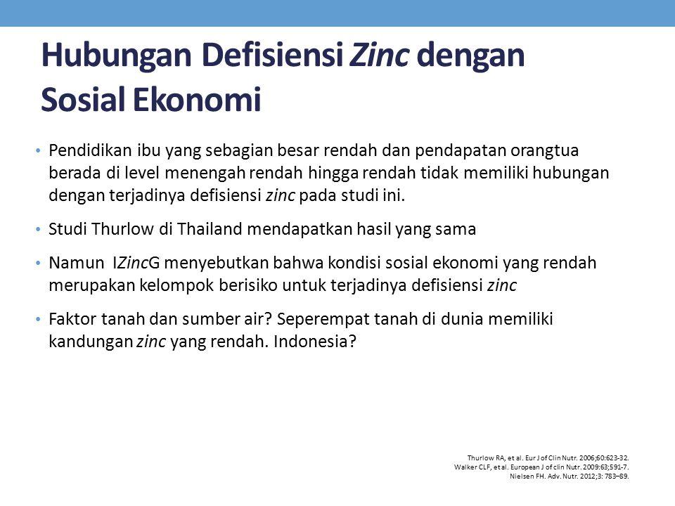 Hubungan Defisiensi Zinc dengan Sosial Ekonomi Pendidikan ibu yang sebagian besar rendah dan pendapatan orangtua berada di level menengah rendah hingg