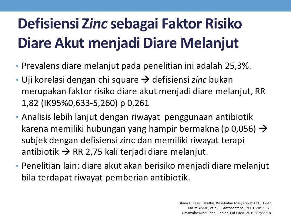 Defisiensi Zinc sebagai Faktor Risiko Diare Akut menjadi Diare Melanjut Prevalens diare melanjut pada penelitian ini adalah 25,3%. Uji korelasi dengan