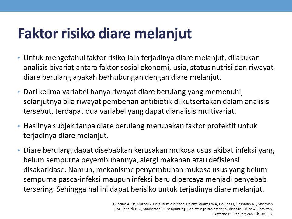 Faktor risiko diare melanjut Untuk mengetahui faktor risiko lain terjadinya diare melanjut, dilakukan analisis bivariat antara faktor sosial ekonomi, usia, status nutrisi dan riwayat diare berulang apakah berhubungan dengan diare melanjut.