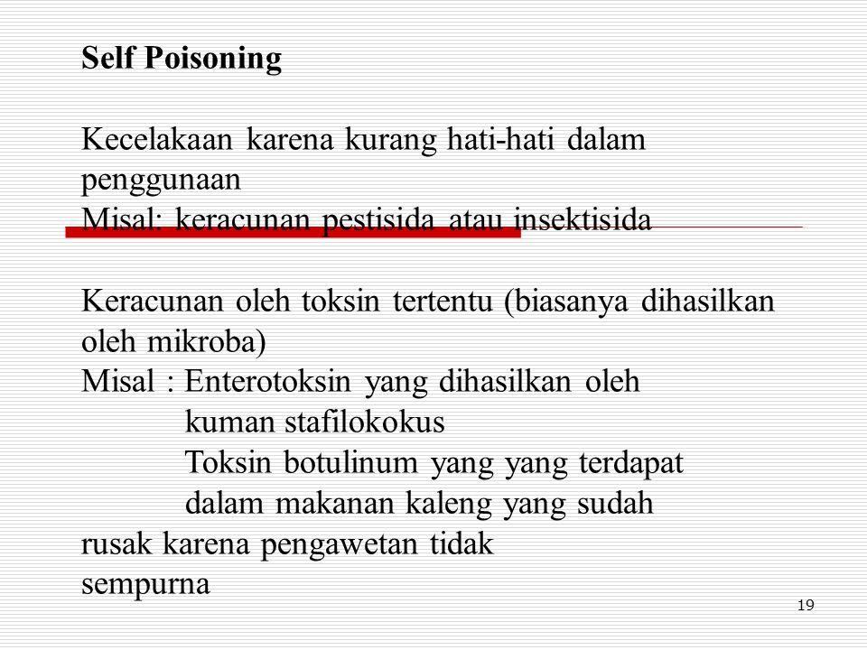 19 Self Poisoning Kecelakaan karena kurang hati-hati dalam penggunaan Misal: keracunan pestisida atau insektisida Keracunan oleh toksin tertentu (biasanya dihasilkan oleh mikroba) Misal : Enterotoksin yang dihasilkan oleh kuman stafilokokus Toksin botulinum yang yang terdapat dalam makanan kaleng yang sudah rusak karena pengawetan tidak sempurna